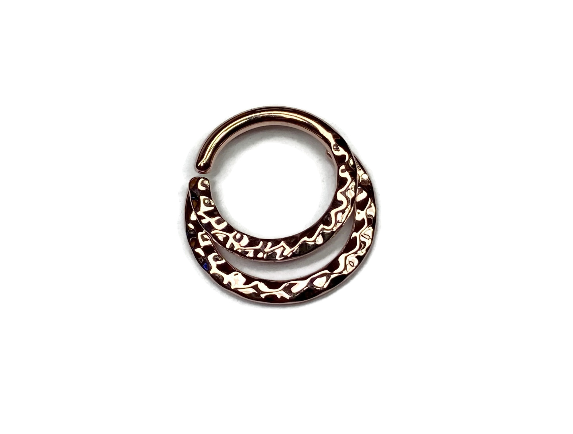 rose gold double hammered daith