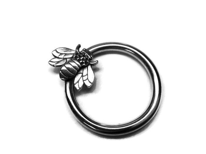 14K White Gold Honey Bee Daith Ring