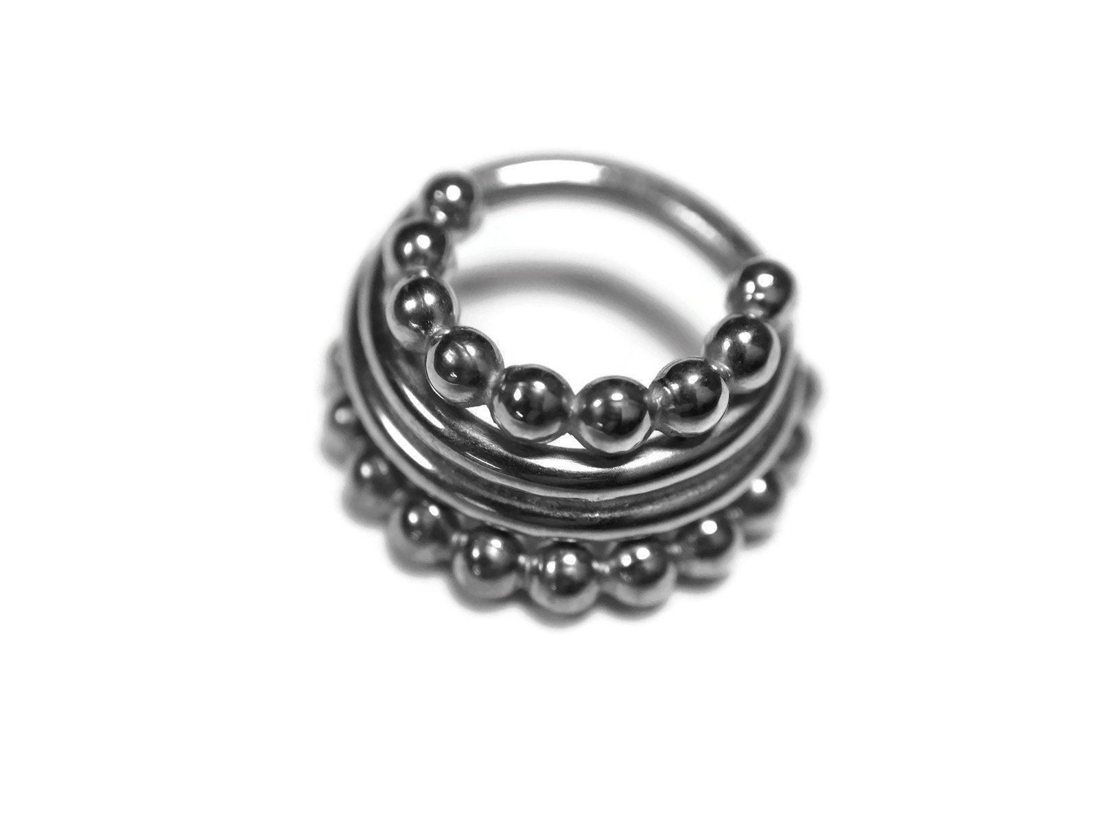 Beaded Four Stacked Septum Ring