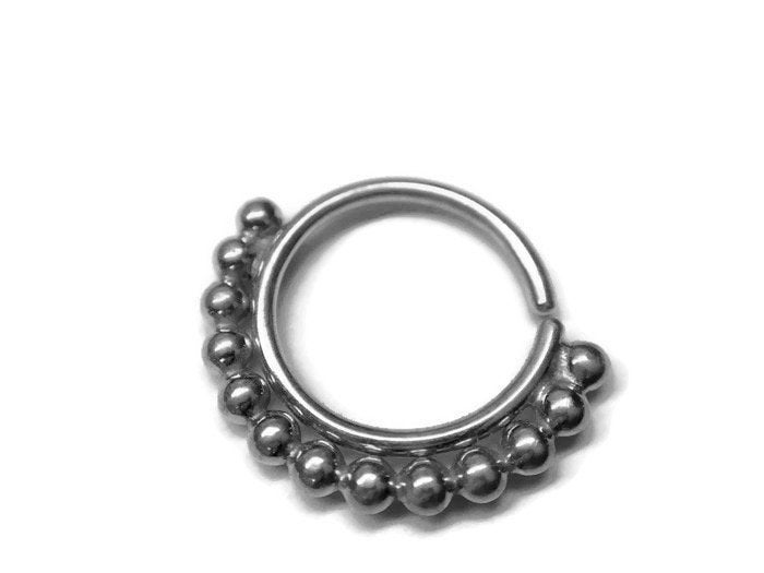 Beaded Piercing Hoop – Lip – Septum – Nostril – Helix – Eyebrow – Daith – Tragus – Conch – Rook – Nickel Free Sterling Silver