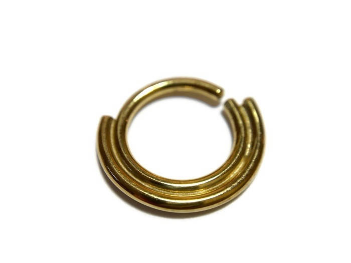 Double Gold Septum Ring – Nose Hoop – Helix – Rook – Daith – Tragus – Conch – Body Jewelry – Gold Dipped Sterling Silver