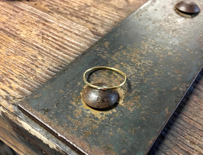 Gold Hammered Skinny Ring