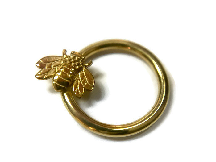 Gold Honey Bee Daith Ring