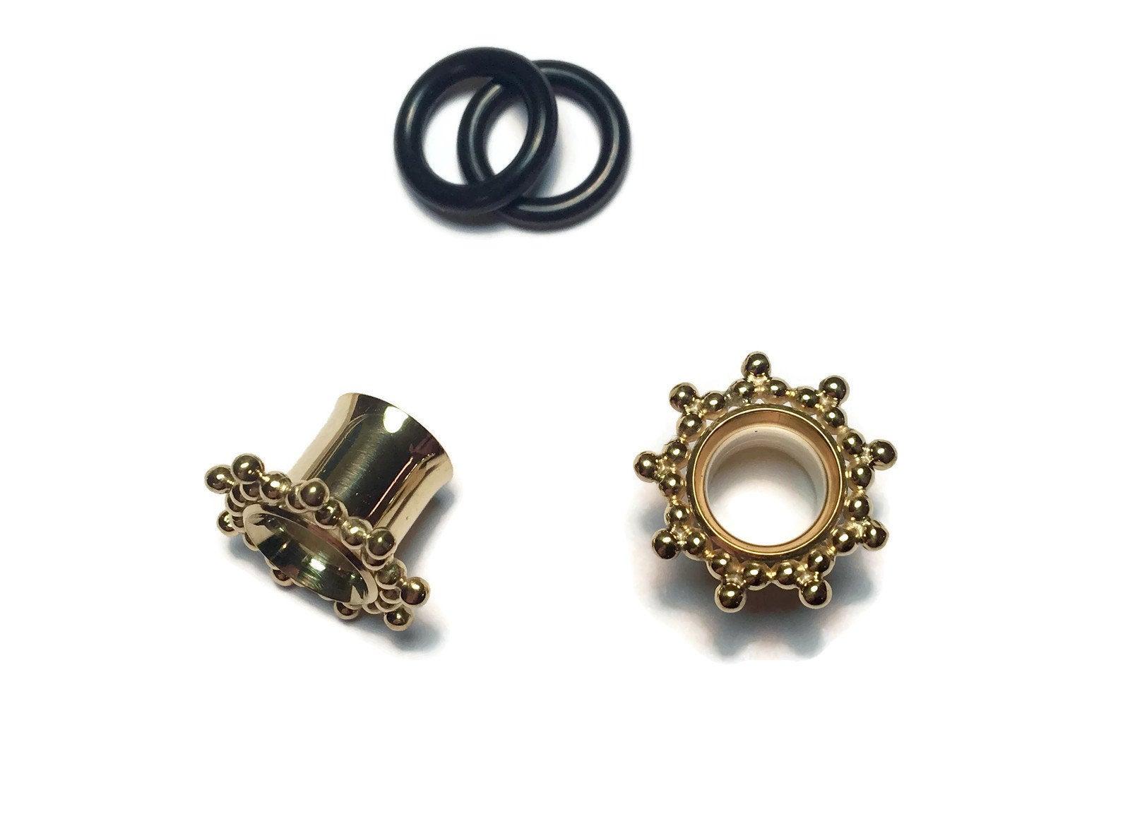 Gold Plugs Gauged Earrings