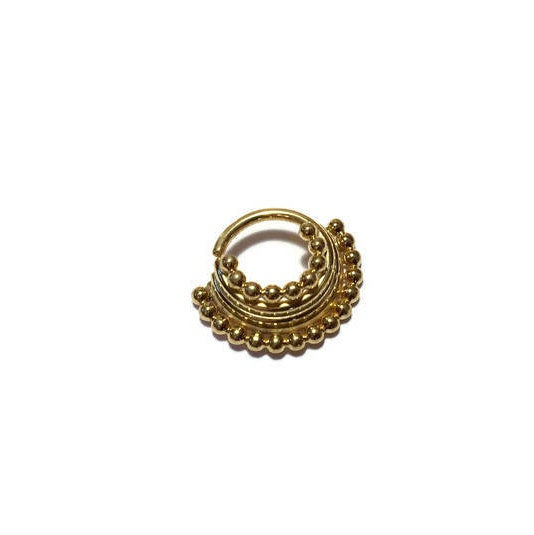 Gold Quad Stacked Beaded Septum Ring – Piercing – Hoop – Conch – Helix – Cartilage – Yellow Gold Dipped Sterling Silver