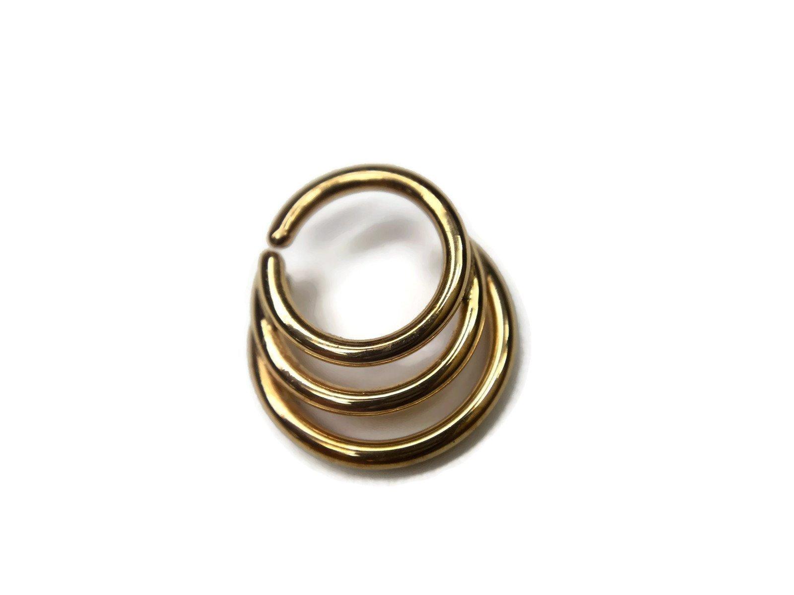 Gold Triple Hoop Septum Ring