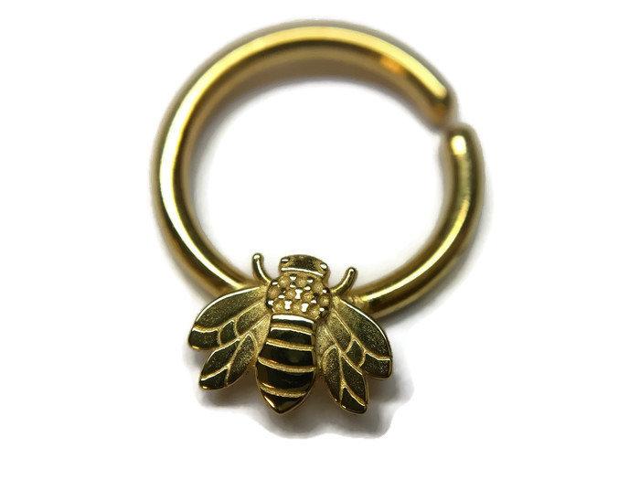 Golden Honey Bee Septum Ring