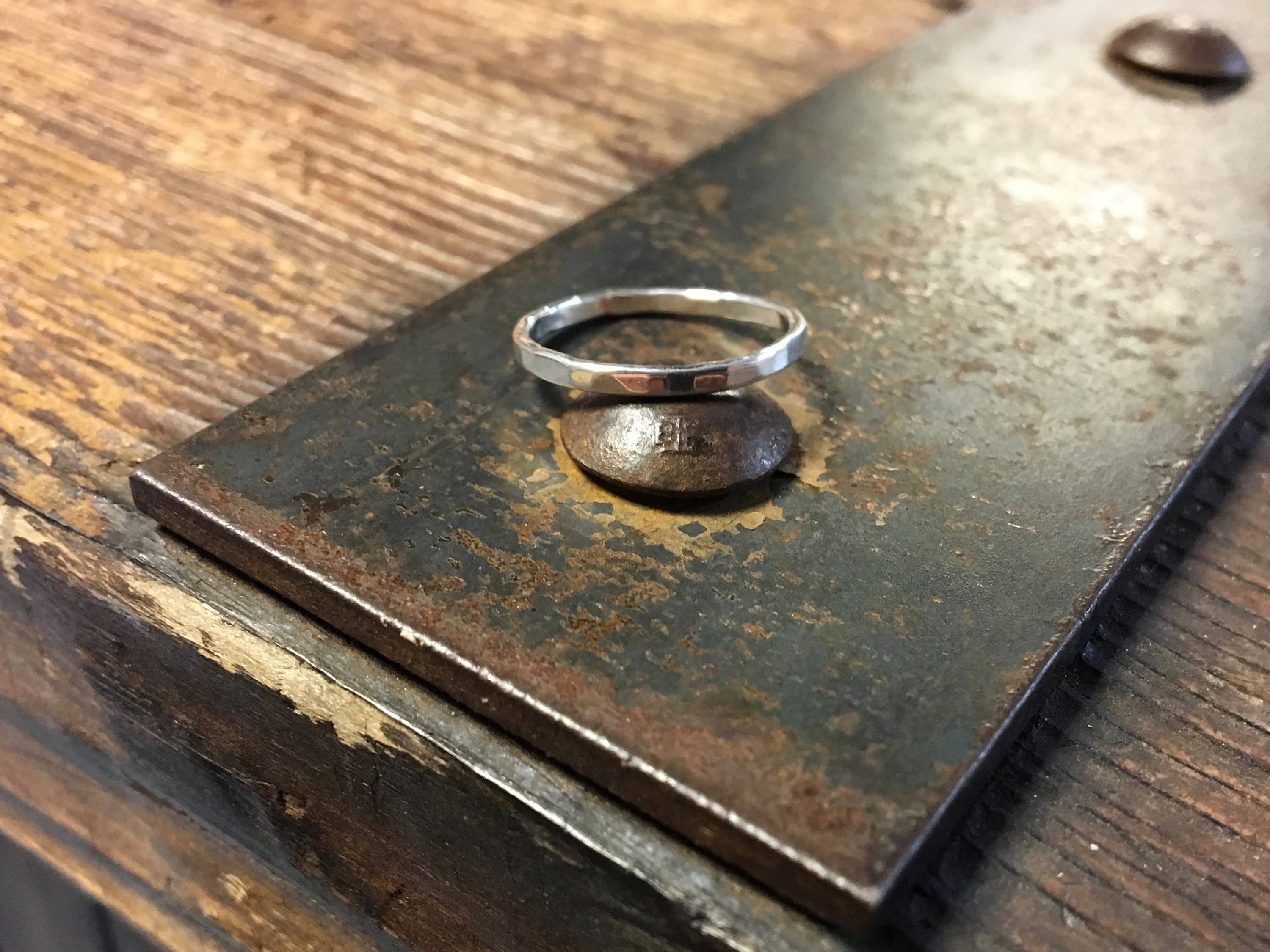 Hammered Band Sterling Silver Band