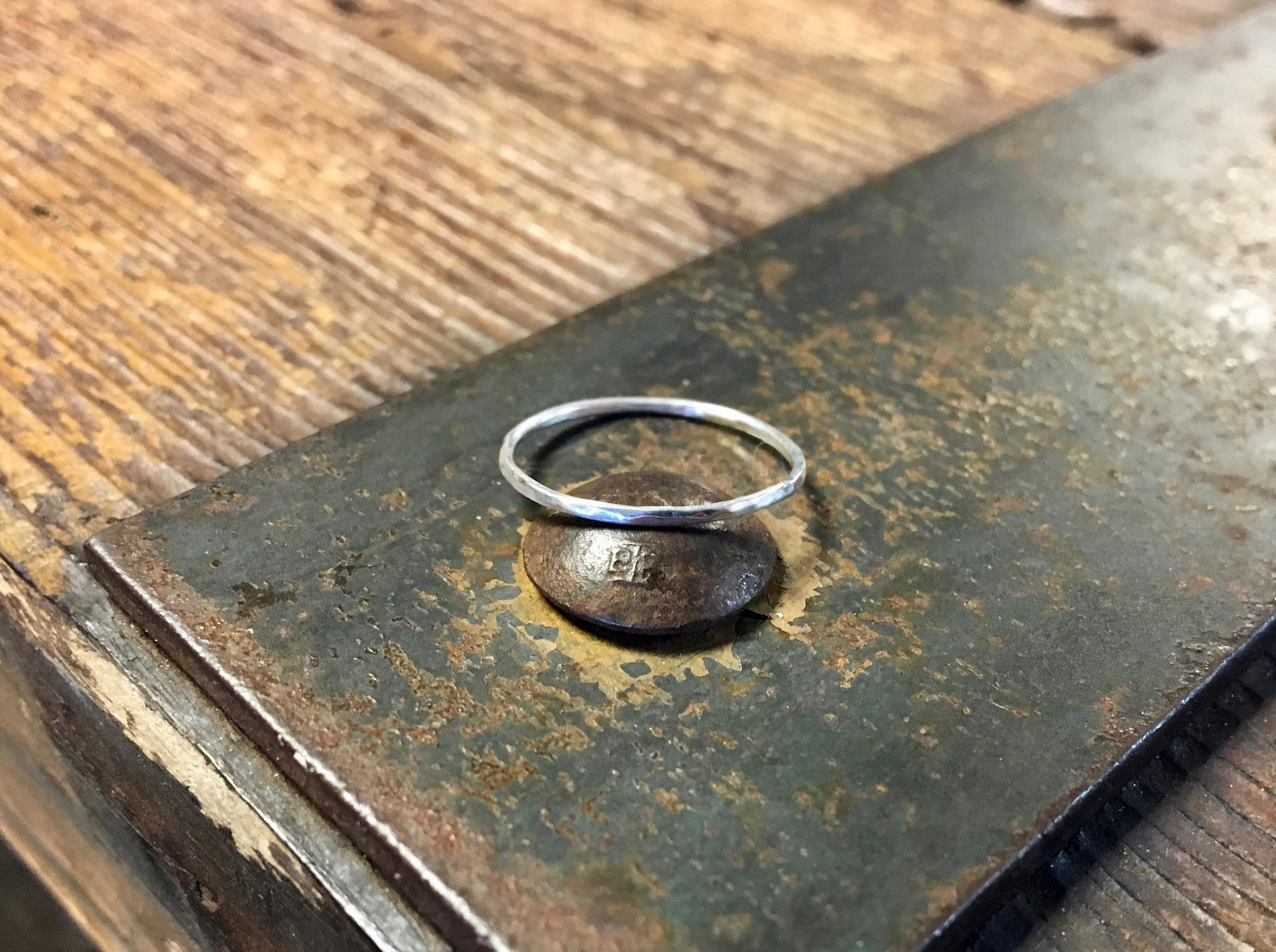 Hammered Skinny Silver Ring Ultra Dainty 1mm