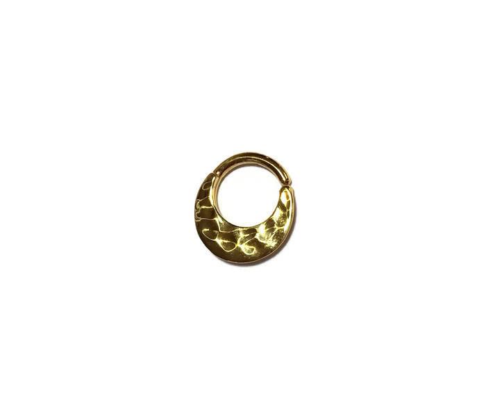 Hammered Textured Large Gold Septum Ring