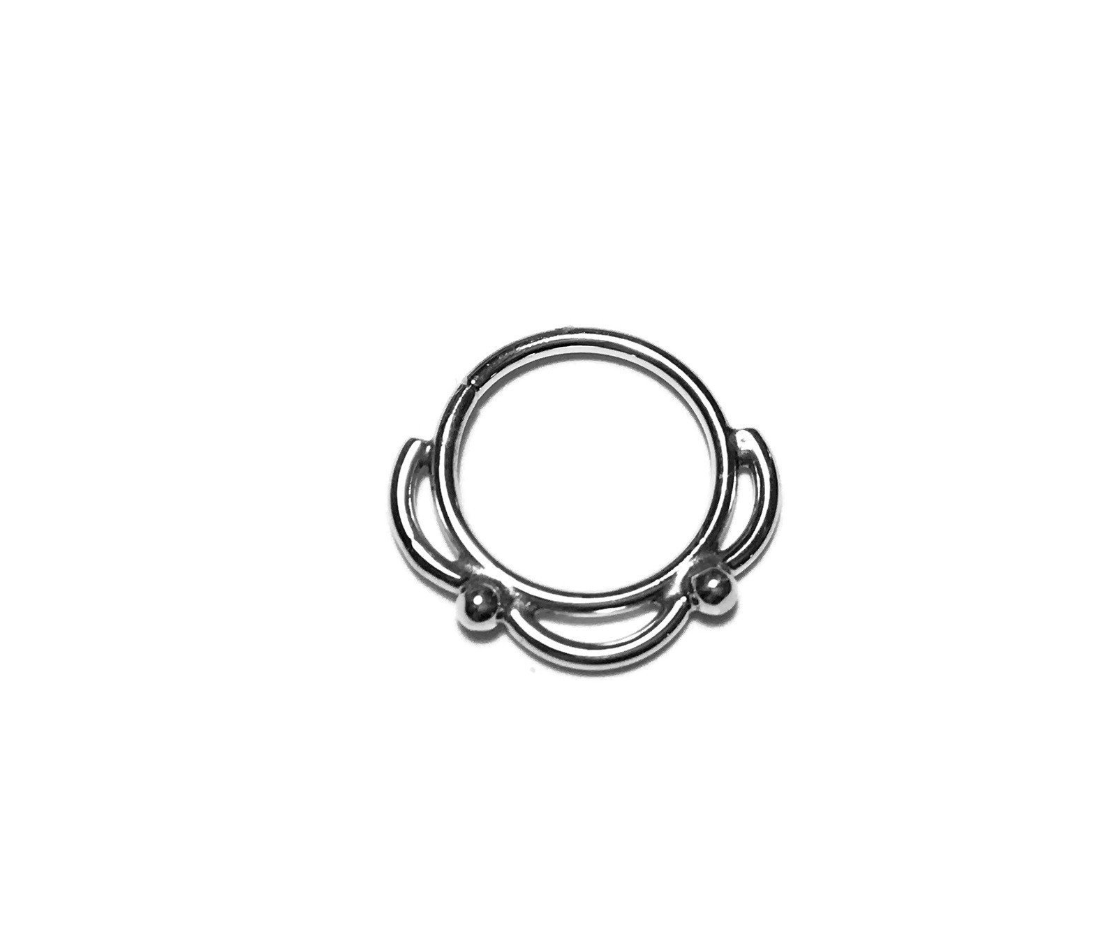 Lacy Sterling Silver Septum Ring – Nostril – Helix – Eyebrow – Daith – Tragus – Conch – Rook – Nickel Free Sterling Silver
