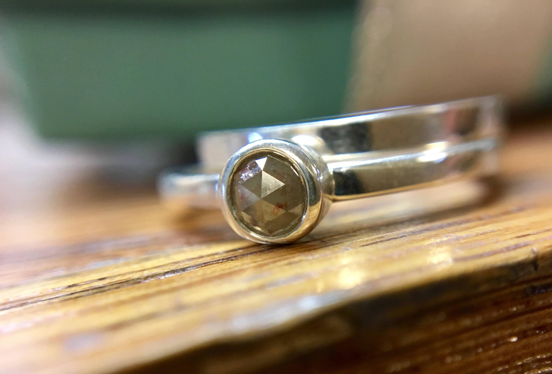 Natural Beige Diamond Ring