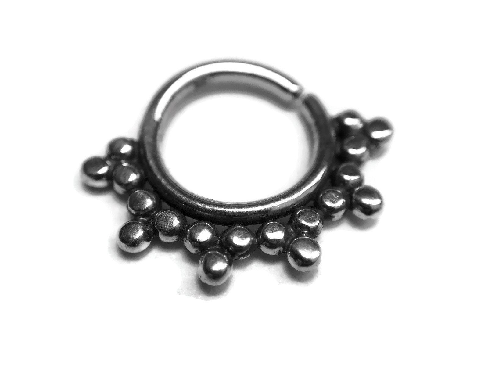 Oxidized Beaded Septum Ring