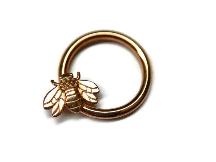 Rose Gold Honey Bee Daith Ring