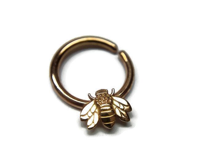 Rose Gold Honey Bee Septum Ring