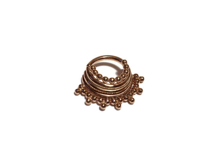 Rose Gold Quad Stacked Beaded Septum Ring – Piercing – Hoop – Conch – Helix – Cartilage – Gold Dipped Nickel Free Sterling Silver