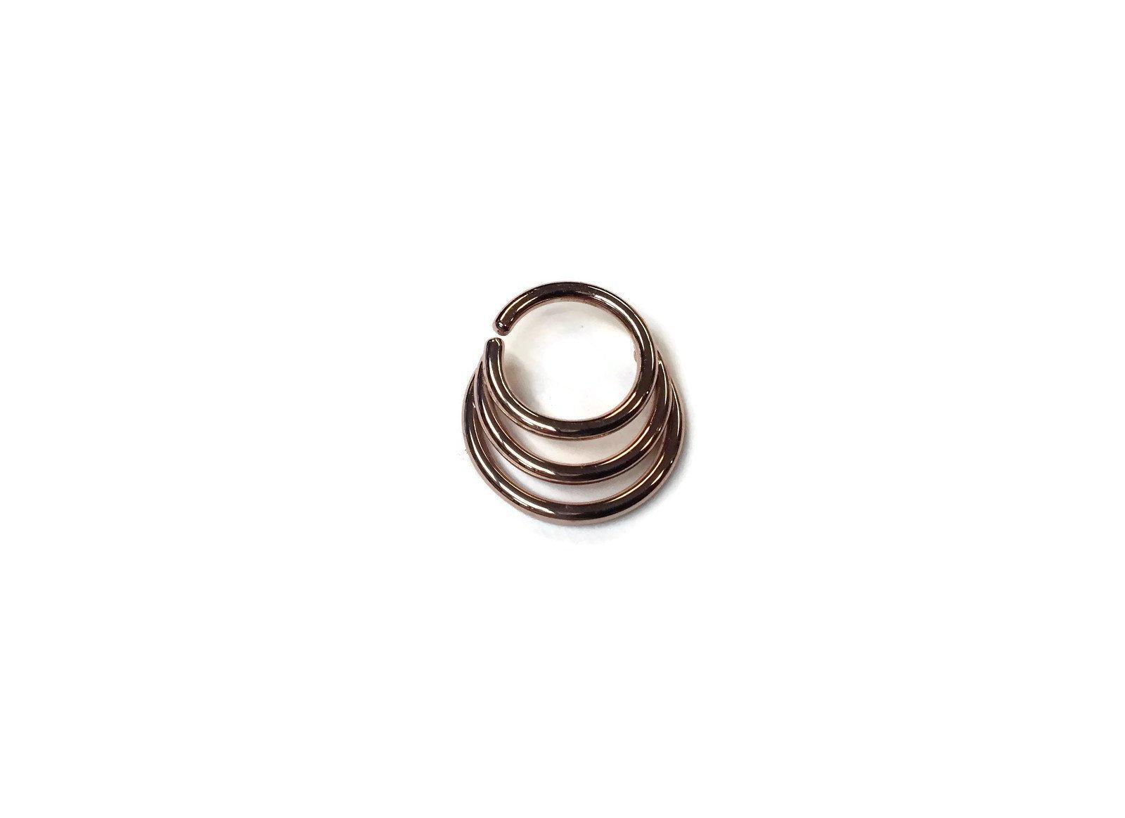 Rose Gold Triple Hoop Septum Ring