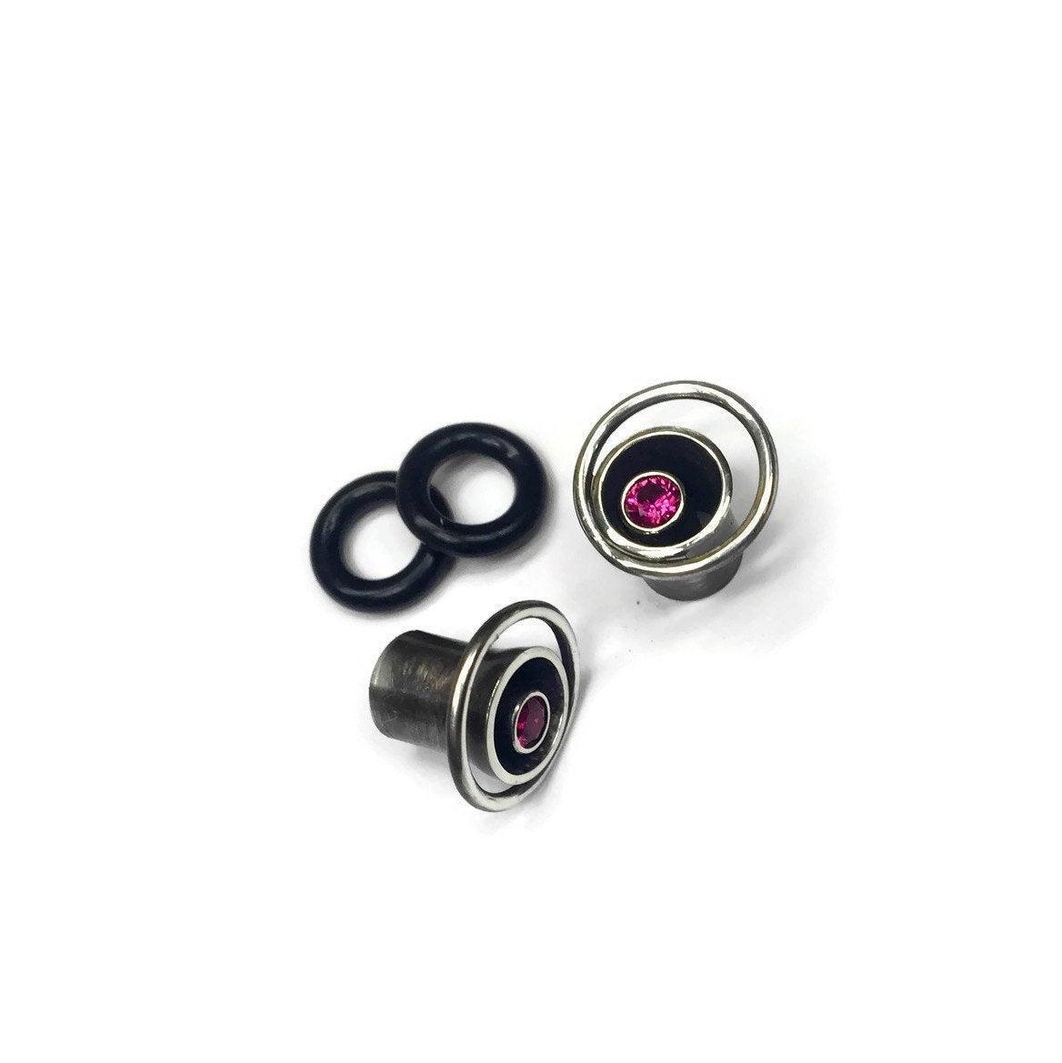 Ruby Hoop Gauge Earrings