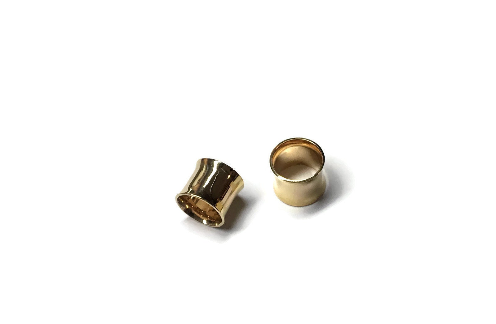 Shiny Gold Simple Gauges Tube Earrings
