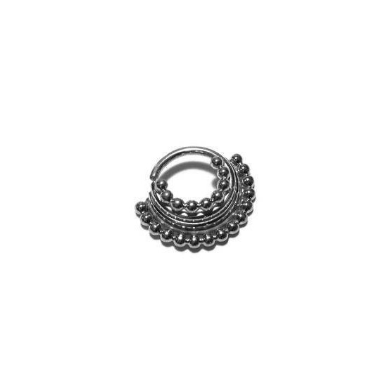 Silver Quad Stacked Beaded Septum Ring – Piercing – Hoop – Conch – Helix – Cartilage – Nickel Free Sterling Silver