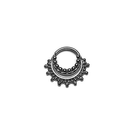 Silver Triple Stacked Beaded Septum Ring With Gap