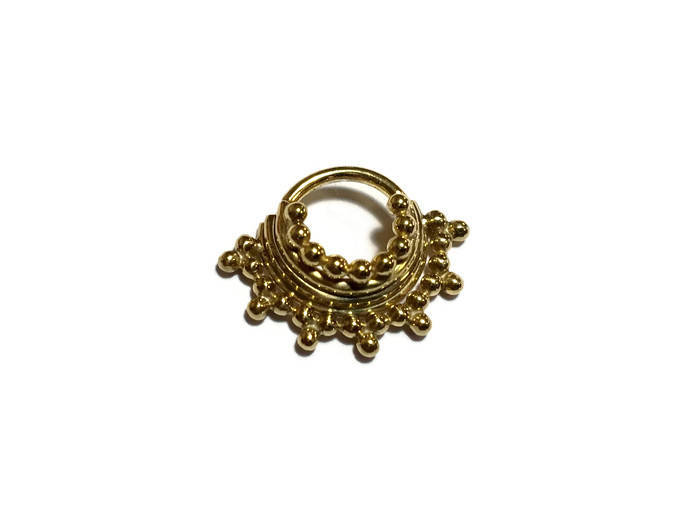 Solid 14 Karat Gold Quad Stacked Beaded Septum Ring – Piercing – Hoop – Conch – Helix – Cartilage