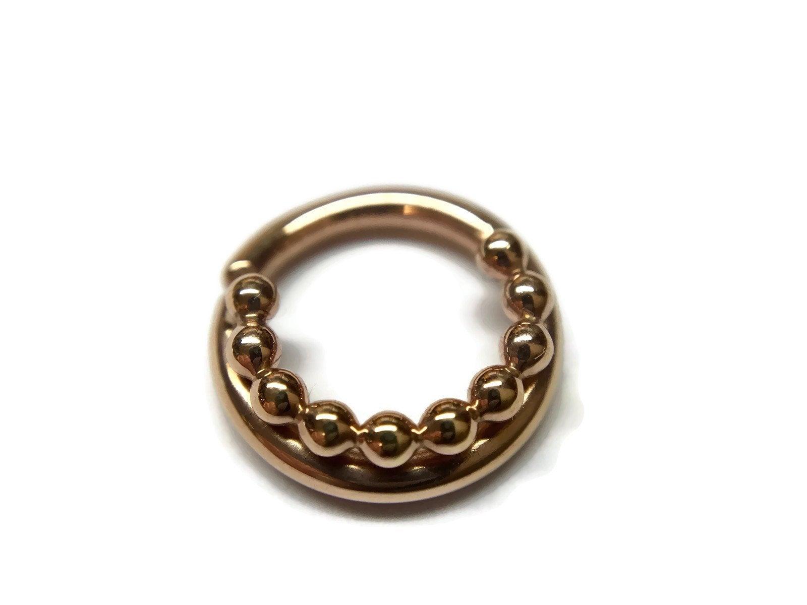 Solid 14 Karat Rose Gold Beaded Septum Ring