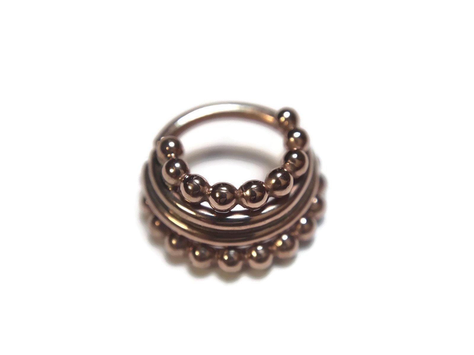 Solid 14 Karat Rose Gold Beaded Stacked Septum Ring