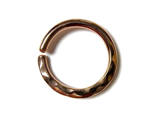 Solid 14 Karat Rose Gold Hammer Texture Septum Ring