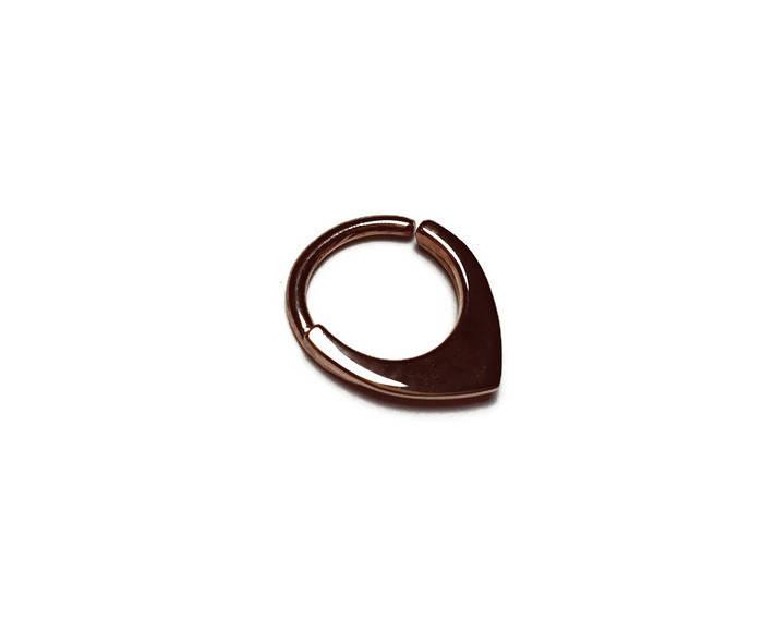 Solid 14 Karat Rose Gold Mini Shield Septum Ring
