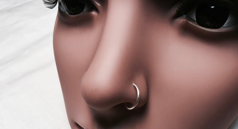 Solid 14 Karat White Gold Simple Nose Hoop