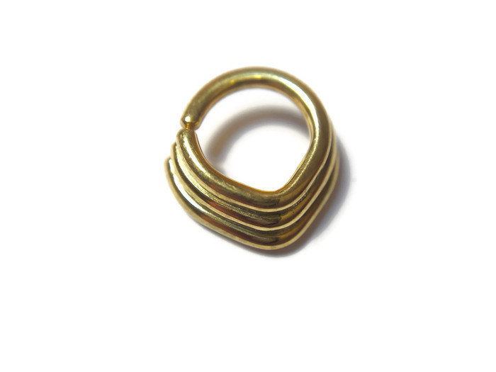 Solid 14 Karat Yellow Gold Layered Chevron Septum Ring – Triangle Stacked Nose Hoop
