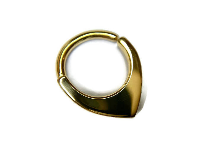 Solid 14 Karat Yellow Gold Mini Shield Septum Ring
