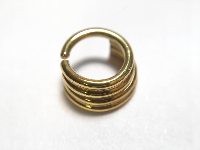 Solid 14 Karat Yellow Gold Quadruple Straight Stacked Septum Ring