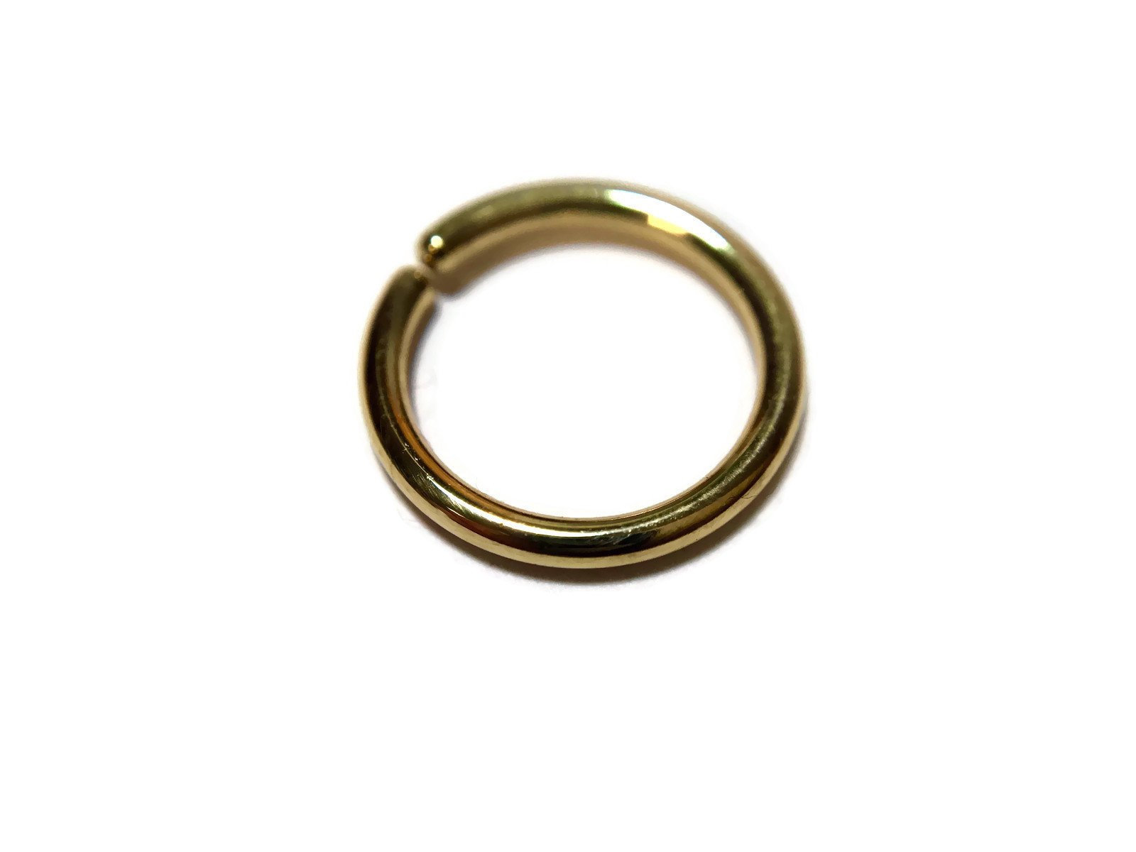 Solid 14 Karat Yellow Gold Seam Ring – Simple Nose Hoop – Piercing – Lip – Eyebrow – Nostril – Rook – Earring – Daith – Tragus – Conch
