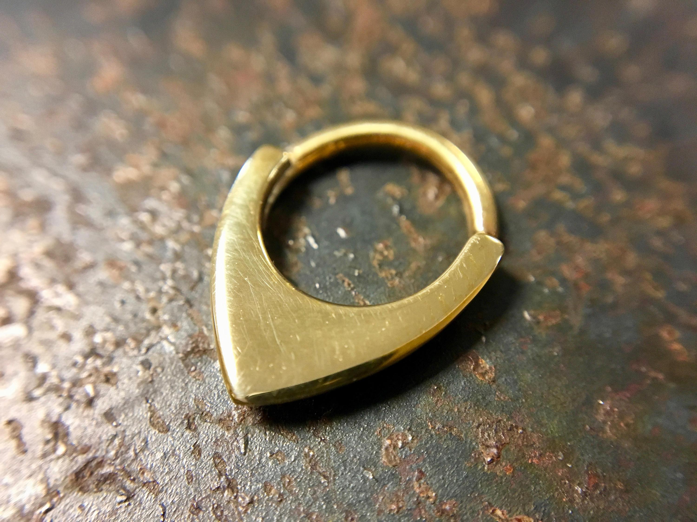 Solid 14 Karat Yellow Gold Shield Septum Ring