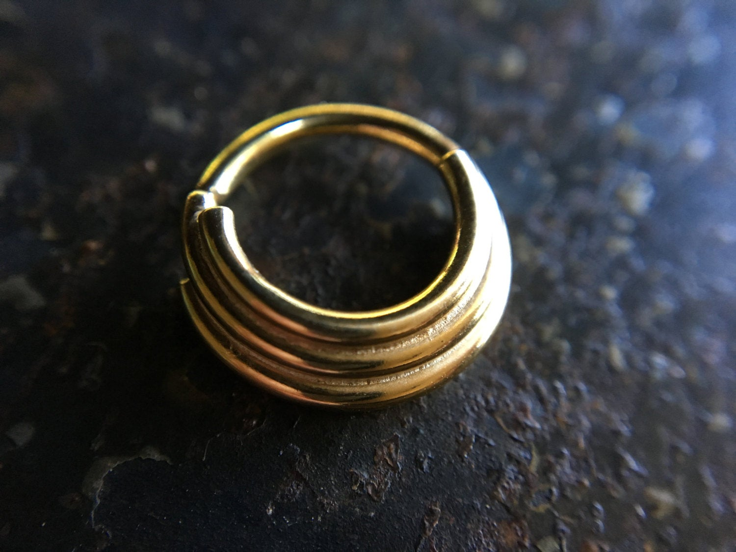 Solid 14 Karat Yellow Gold Triple Stacked Septum Ring