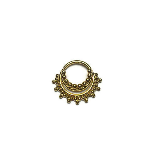 Solid 14Karat Yellow Gold Triple Stacked Beaded Septum Ring With Gap – Nose Hoop – Conch – Helix – Cartilage Piercing