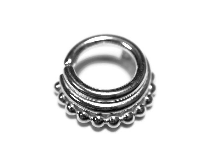 Stacked Septum Ring – Layered Piercing – Nickel Free Sterling Silver – Helix – Rook – Daith – Tragus – Conch