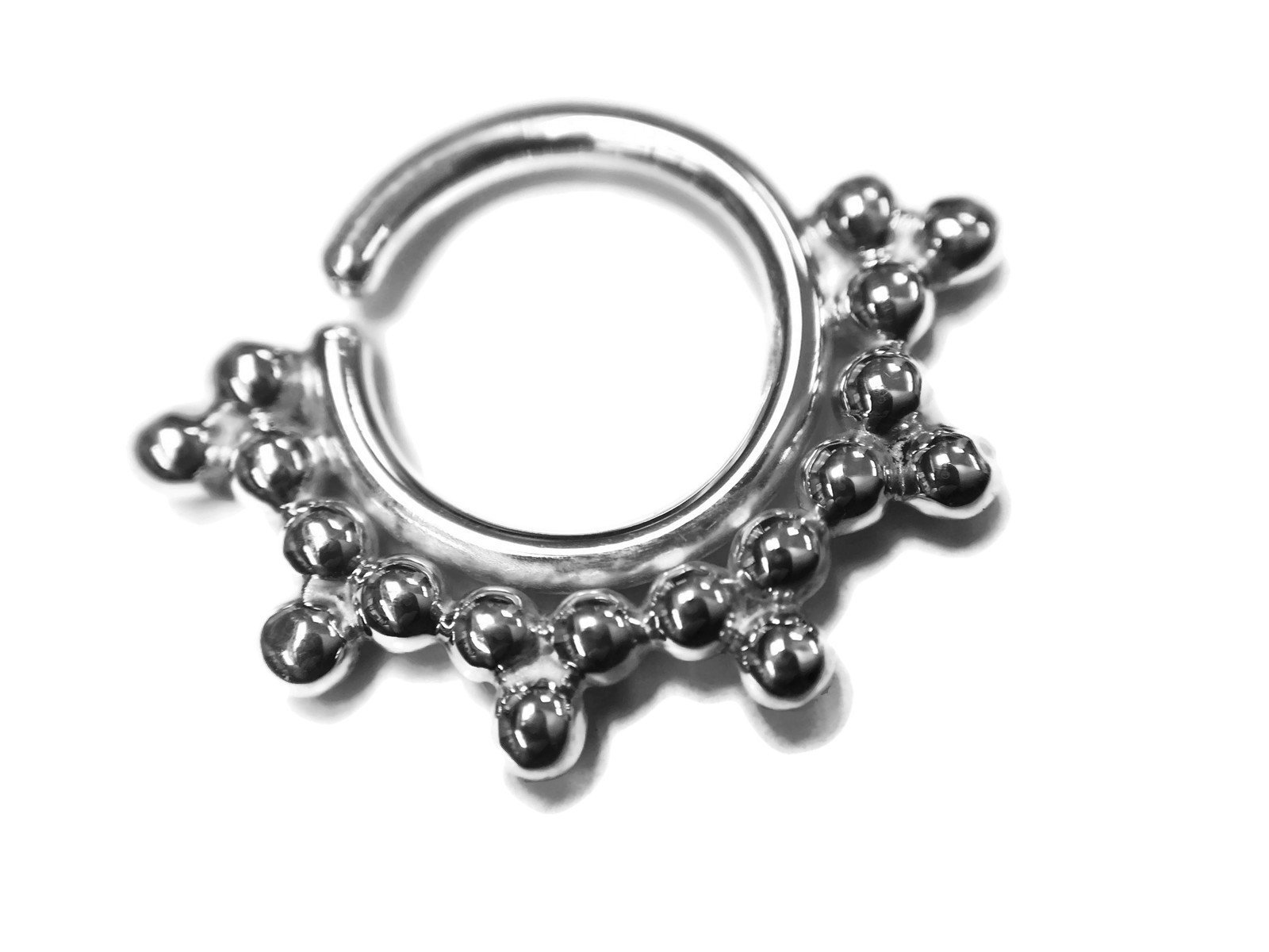 Sterling Septum Ring – Piercing – Nostril – Helix – Rook – Daith – Tragus – Conch – Nipple – Nickel Free Sterling Silver