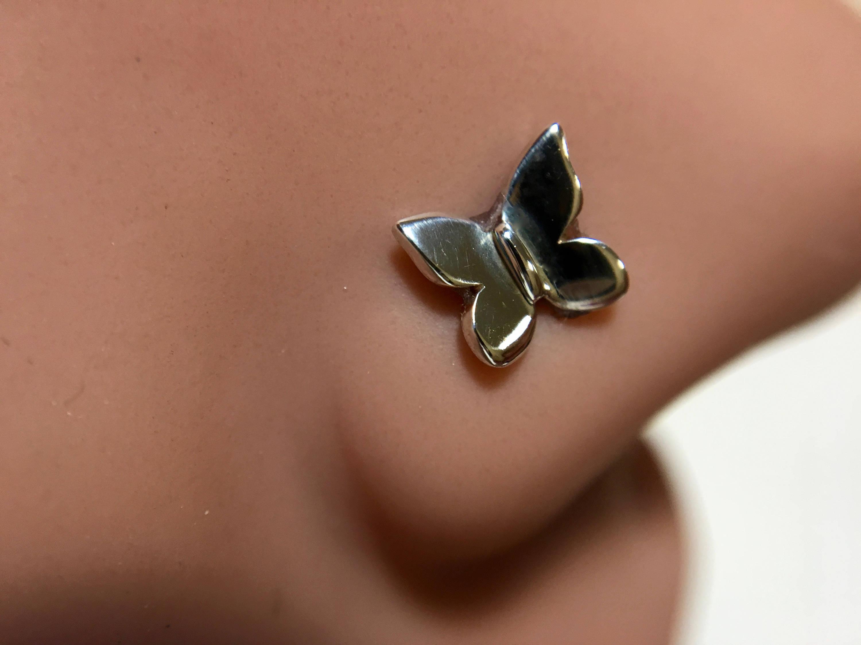 Sweet Little Butterfly Nose Stud – Nickel Free Sterling Silver