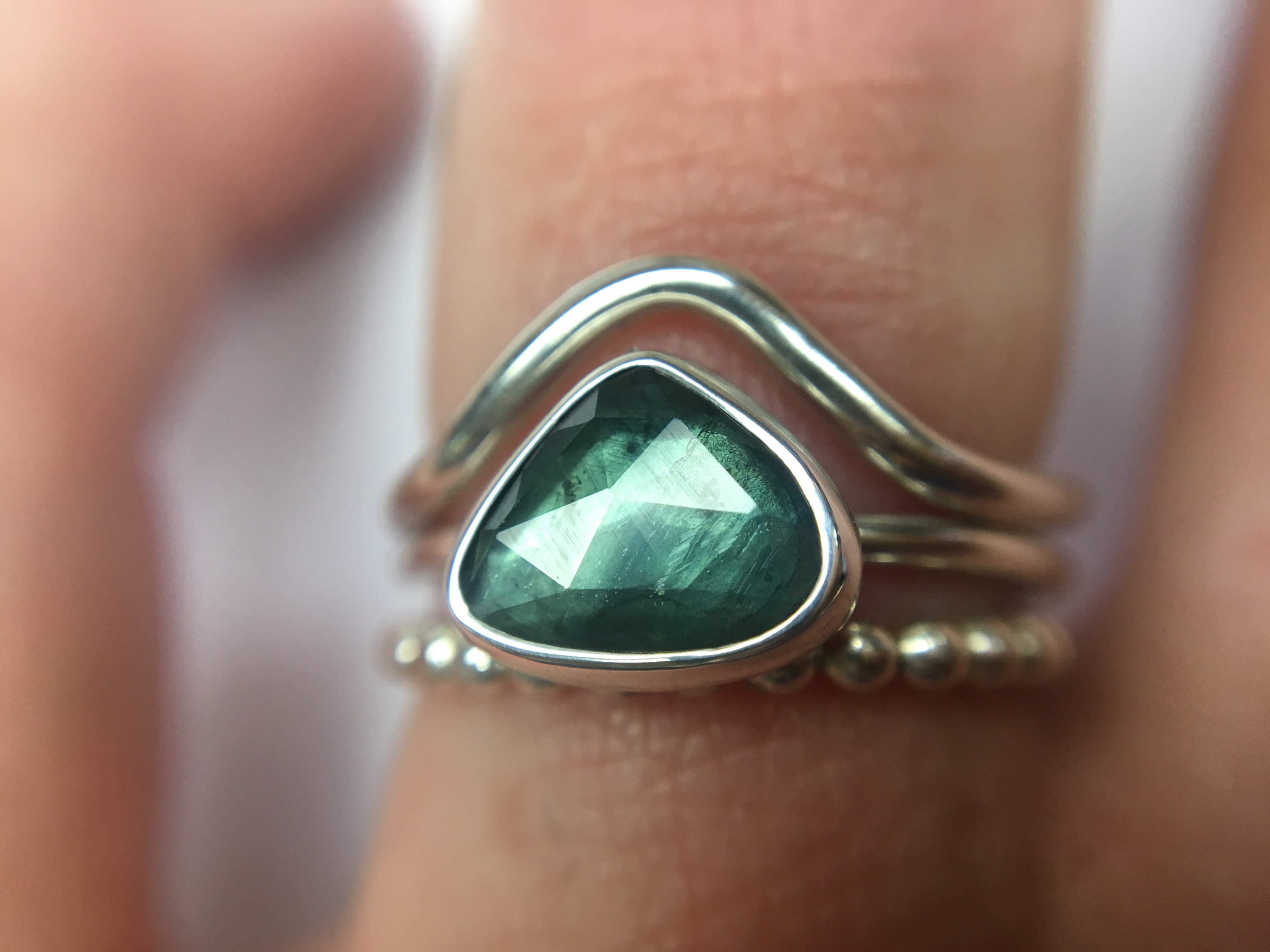 Triangle Shaped Green Blue Natural Parti Sapphire Ring