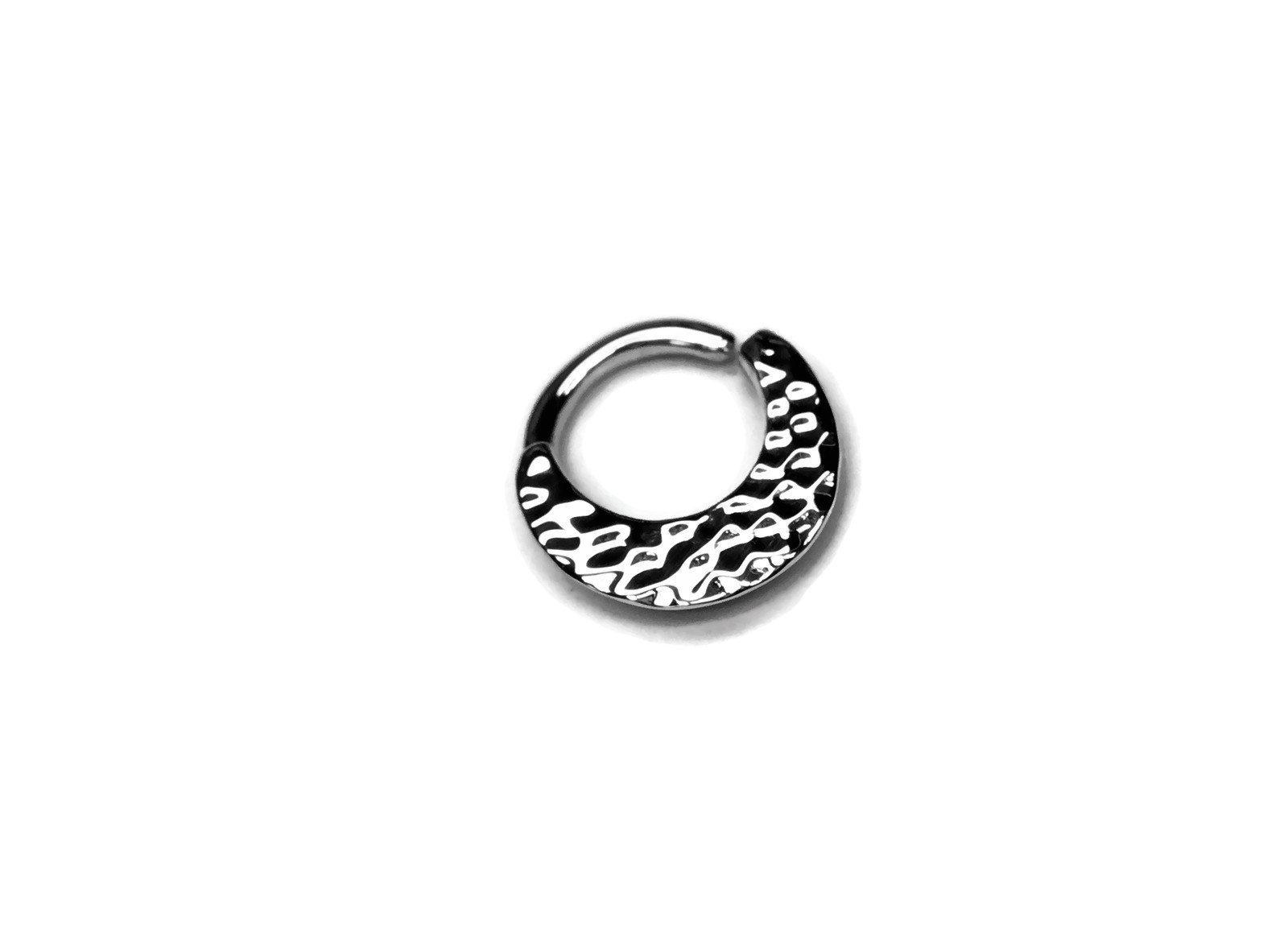 Wide Hammer Textured Silver Septum Ring