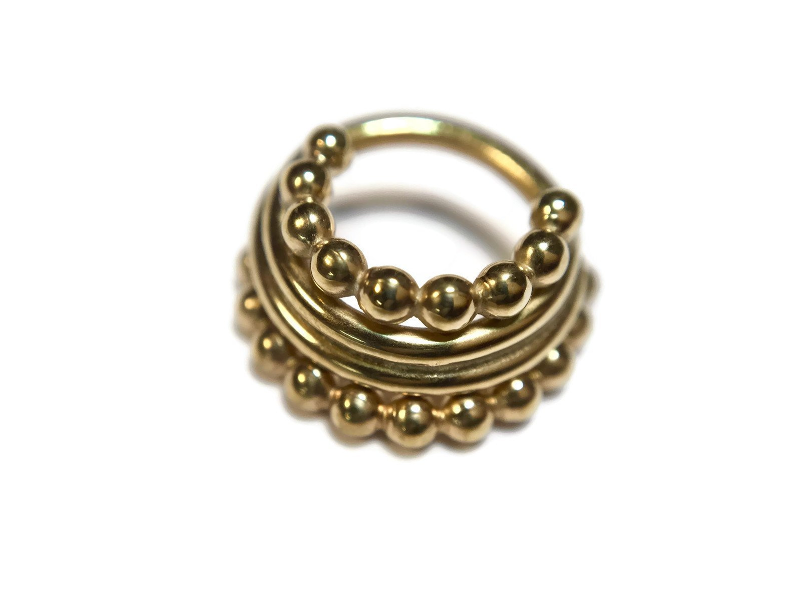Yellow Gold Beaded Stacked Septum Ring