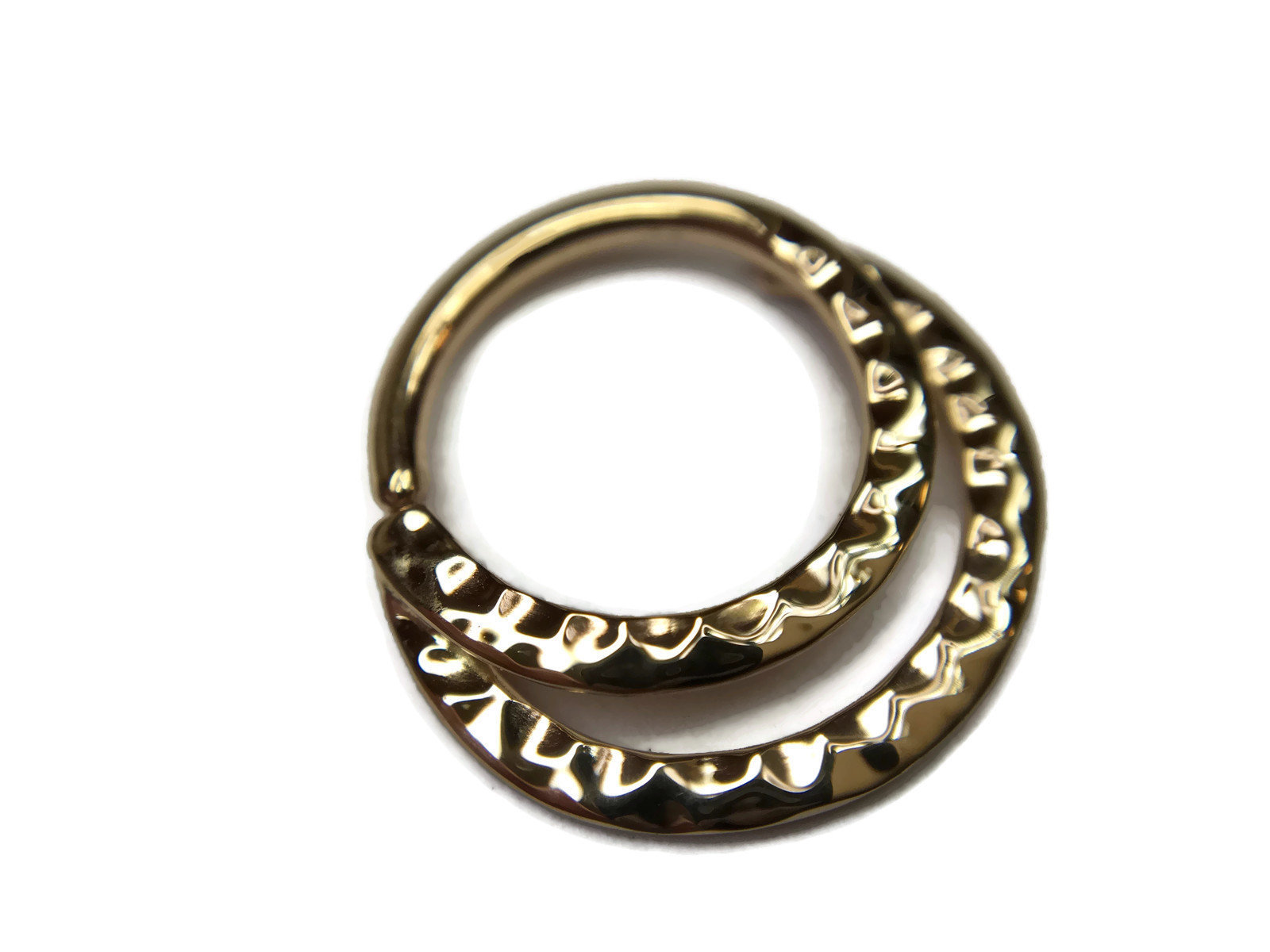 Yellow Gold Double Hammered Septum Ring