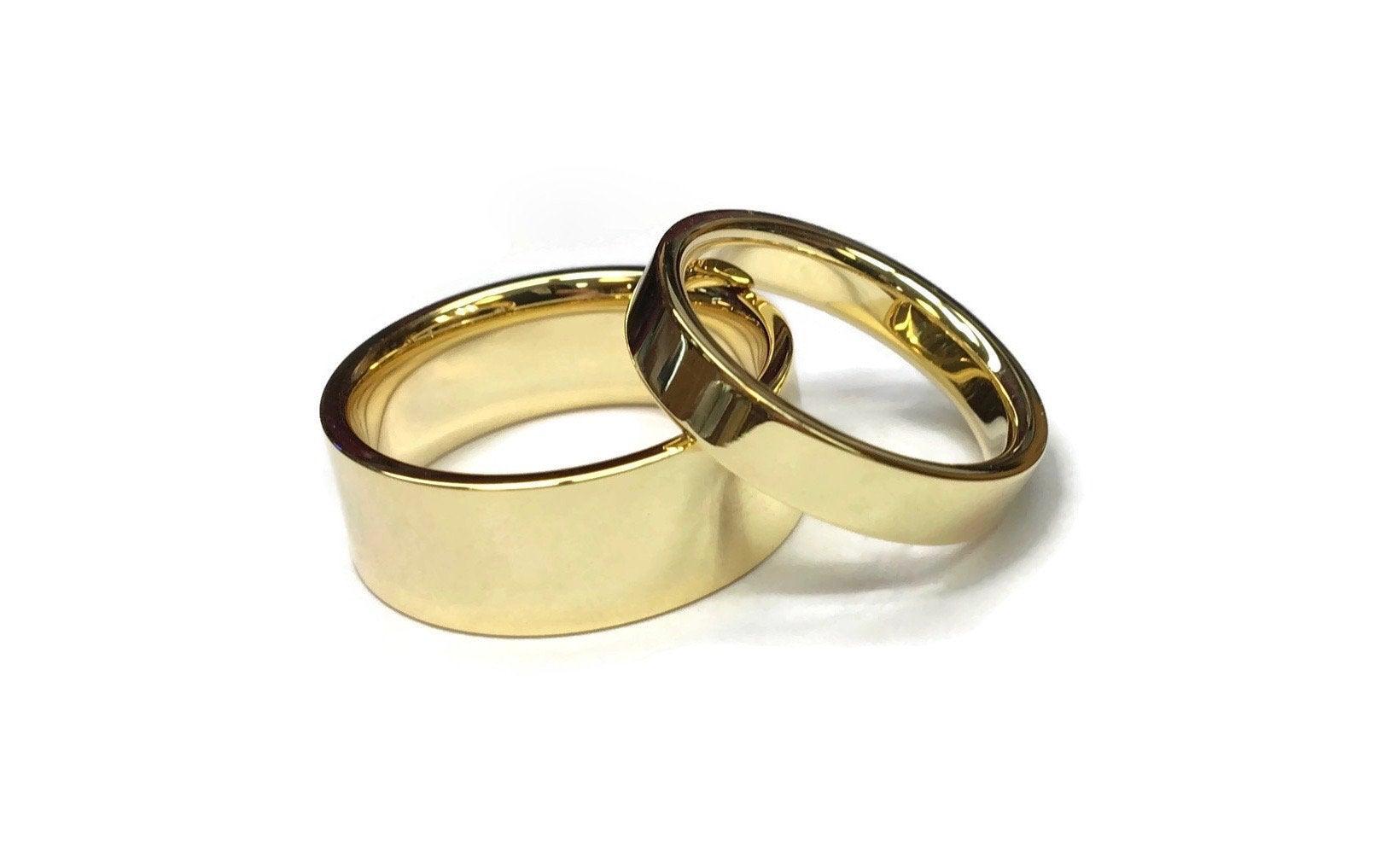Flat Gold Wedding Bands