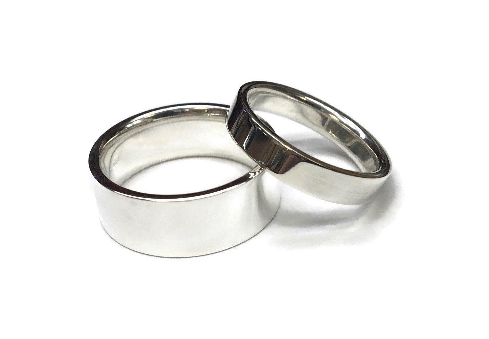 Flat Silver Wedding Bands