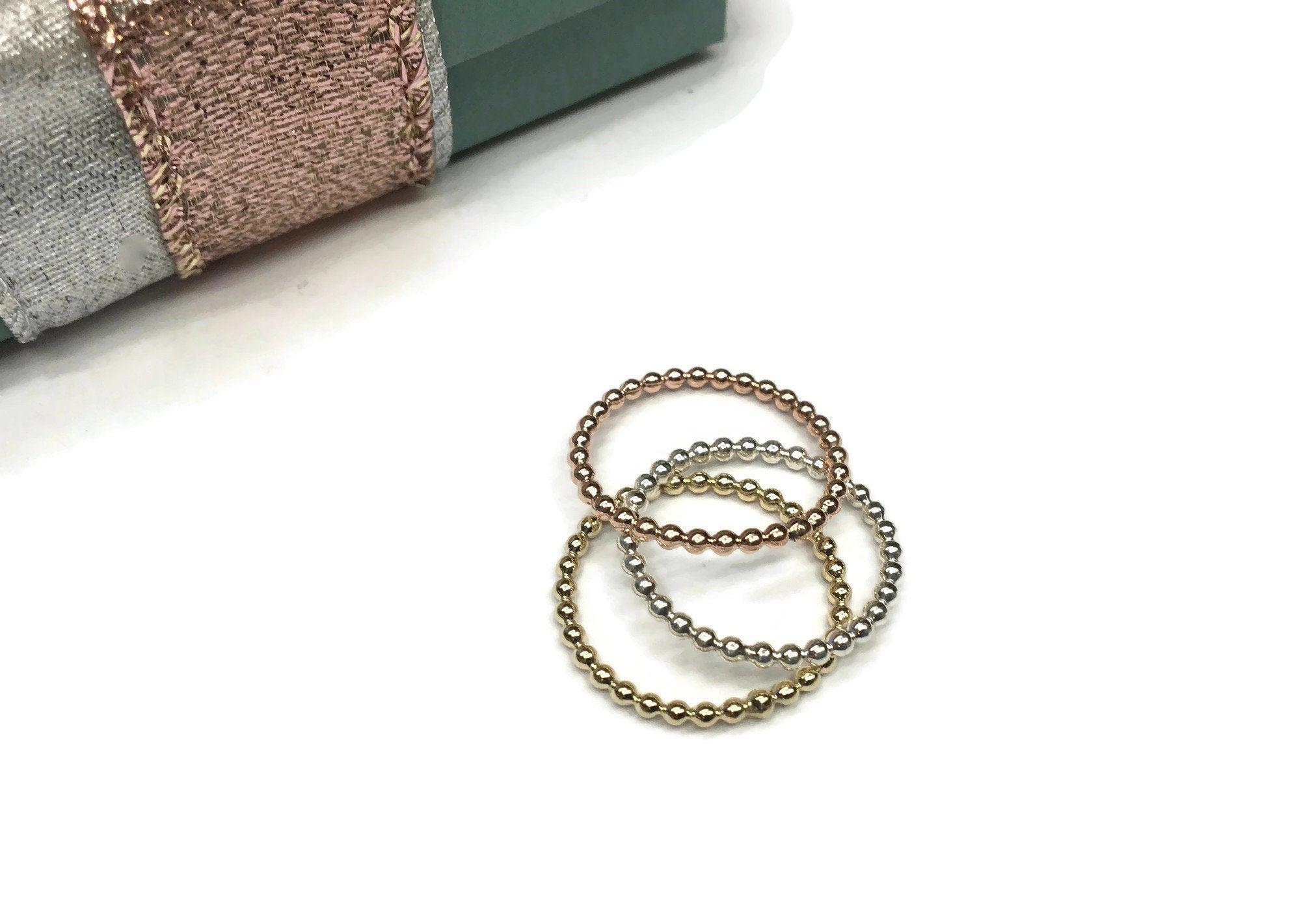 Simple Bead Ring Solid 14 Karat