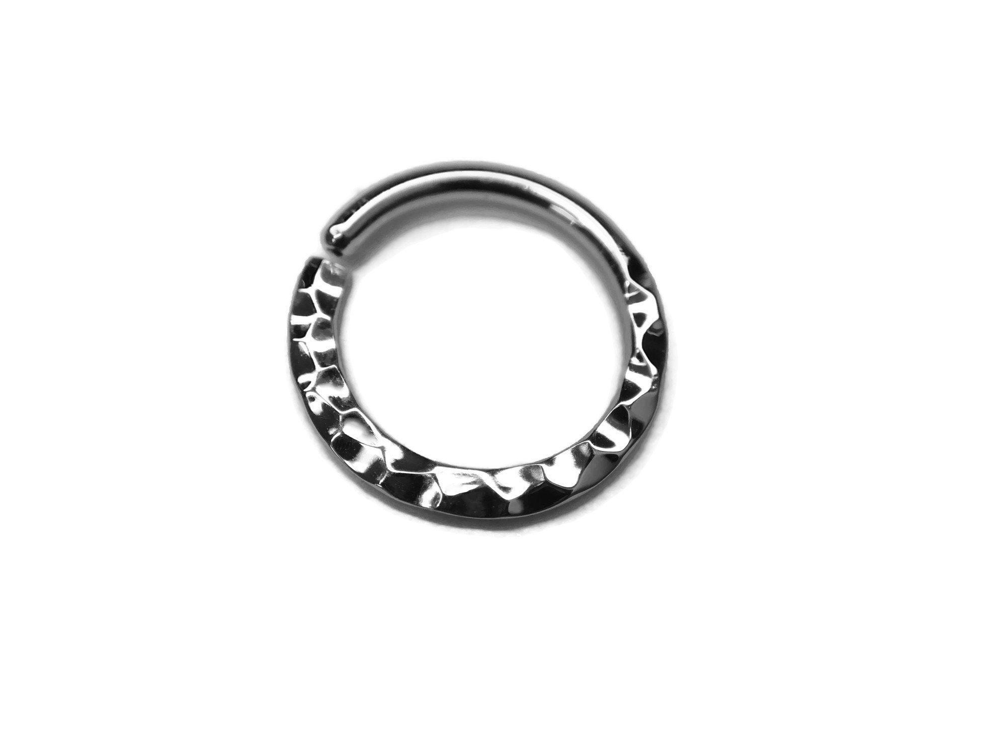 Solid 14 Karat White Gold Hammer Texture Septum Ring
