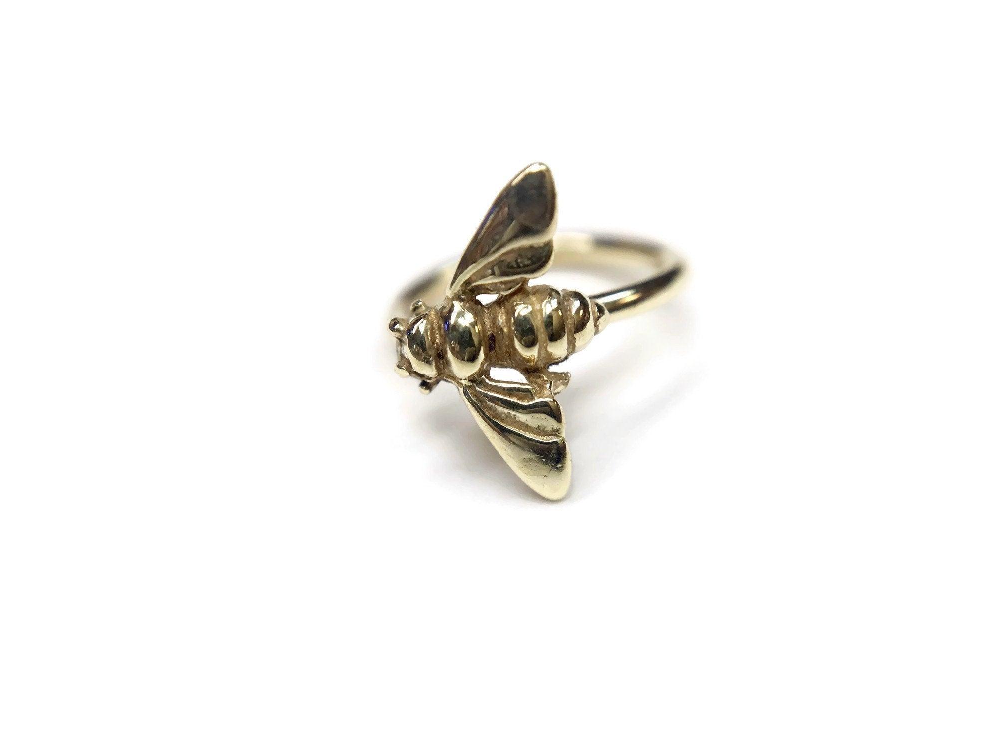 14K Gold Bee Hoop Nose Ring